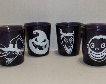 Nightmare Before Christmas Lock Handmade Glass Etched Shock and Barrel Shot Glass Set of 3