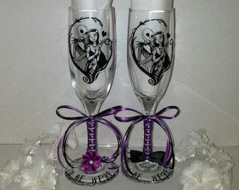 nightmare before christmas jack sally tim burton disney champagne wedding anniversary gift glasses custom personalized 153083330472