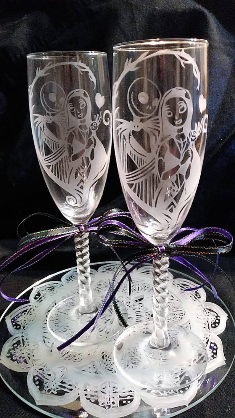 Tim Burton Nightmare Before Christmas Jack And Sally.Etched Nightmare Before Christmas Jack Sally Tim Burton Disney Champagne Wedding Anniversary Gift Glasses Custom Personalized 151955091698