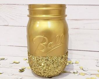 Gold & Gold Glitter Mason Jar