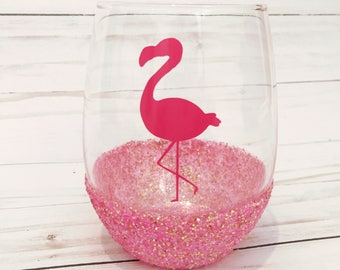 Flamingo / Pink / Glitter Dipped Stemless Wine Glass / Vinyl / Flamingo Gifts for Her