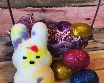 Custom dyed cotton velour Marshmallow bunny, stuffed bunny, easter gift, peep, easter peep, stuffed peep