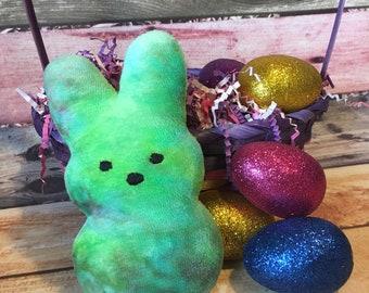 Custom dyed cotton velour Marshmallow bunny, stuffed bunny, easter gift, peep, easter peep, stuffed peep, marshmallow peep