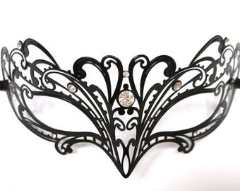 Petite Swirl Masquerade Mardi Gras Metal Filigree Mask in Black with clear crystals