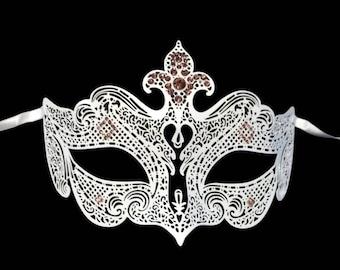 Large Fleur De Lis Masquerade Mardi Gras Metal Filigree Mask in Black or White