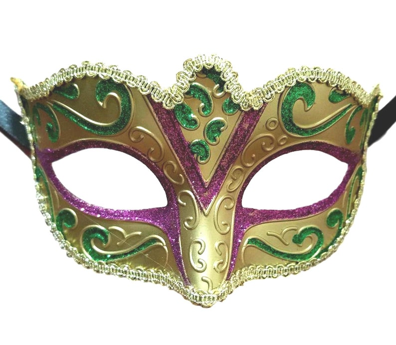 Small Venetian Style Mask with Ribbon Ties and Glitter detailing Child Teen Size