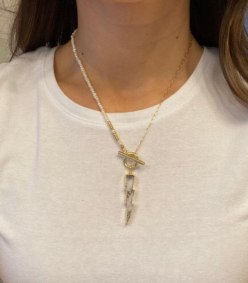 Quartz Bolt Necklace