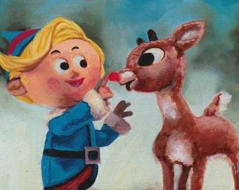 Rudolph The Red Nosed Reindeer and Hermie Limited Edition Postcard Print