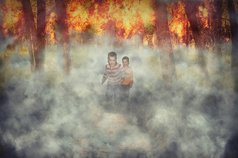 Forest Fire digital background with PNG smoke overlay