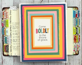 Guided Prayer Journal / Quiet Time Journal for Women / Come Boldly Cover / Bible Journaling Supplies