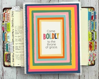 Bible Study Journal / Bible Journaling Notebook / Prayer Journal / Guided Bible Study Binder / Come Boldly Cover