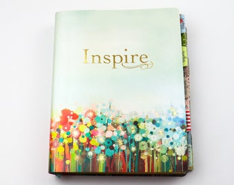 NLT Large Print Journaling Bible Bundle Colorful Cover - NLT Inspire Bible with Coordinating Bible Tabs, Bible Journaling