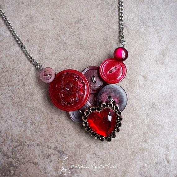collier plastron boutons collier romantique saint valentin etsy. Black Bedroom Furniture Sets. Home Design Ideas
