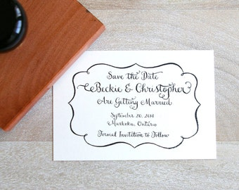 Calligraphy SAVE THE DATE Rubber Stamp for Wedding - Frame Design