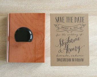 Calligraphy SAVE THE DATE Rubber Stamp for Wedding - Type Design