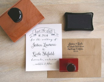 Calligraphy SAVE THE DATE Rubber Stamp for Wedding - Banner Design