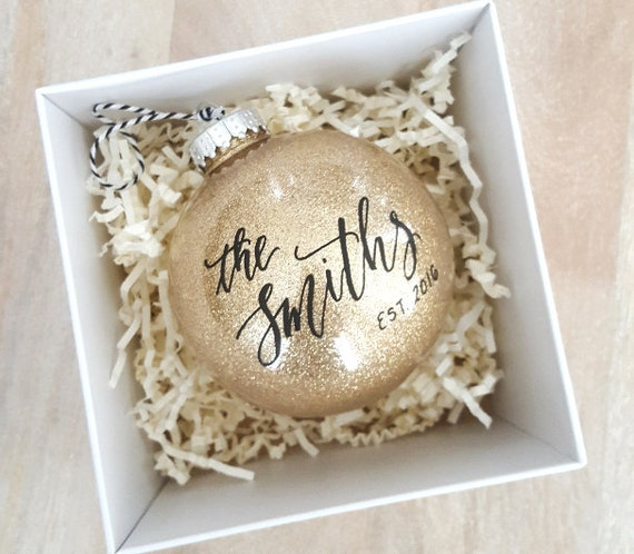 Gifts For Newly Weds: Personalized Established NEWLYWED CHRISTMAS ORNAMENT Gift
