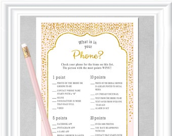 WHAT is in Your PHONE Bridal Shower game - gold accents & a pale blush color, Instant Download, Bachelorette party game, diy PRINTABLE, 29BR