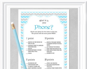 Baby WHAT is in Your PHONE? game, Instant Download, Baby Shower game in blues and grays, diy PRINTABLE, 94BA
