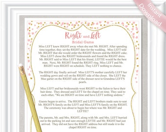dfa7d44d27a RIGHT and LEFT Bridal game with blush pink and gold accents