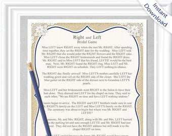 right and left bridal shower game instant download in a country rustic theme with burlap and navy blue accents 50br