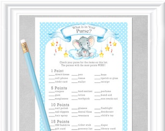WHAT is in Your PURSE? Baby Shower game with a sweet watercolor baby elephant, stars and clouds in blues and grays, Instant Download 98BA
