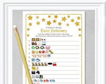 Children's Books EMOJI Pictionary game with whimsical gold stars, ANSWERS included, Instant Download, diy PRINTABLE, 85BA