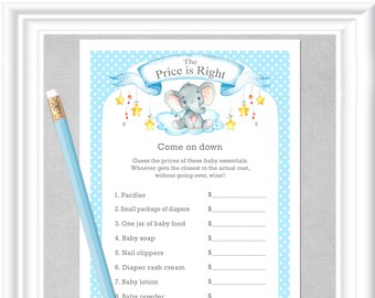 The PRICE is RIGHT baby shower game with a sweet watercolor baby elephant, stars and clouds in blues and grays, diy PRINTABLE, 98BA