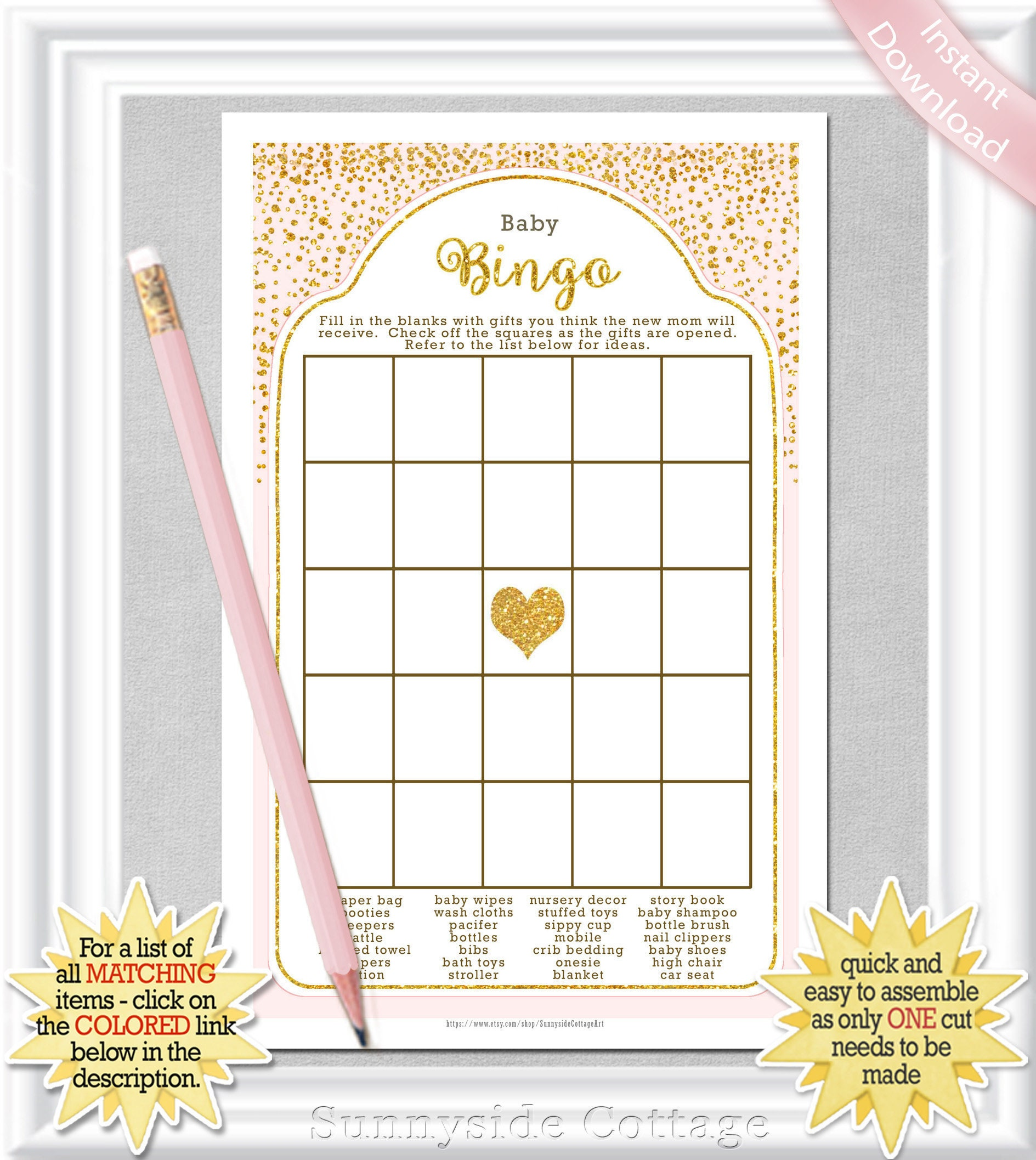 Baby Bingo Game With Gold Accents On A Pinkblush Background Etsy