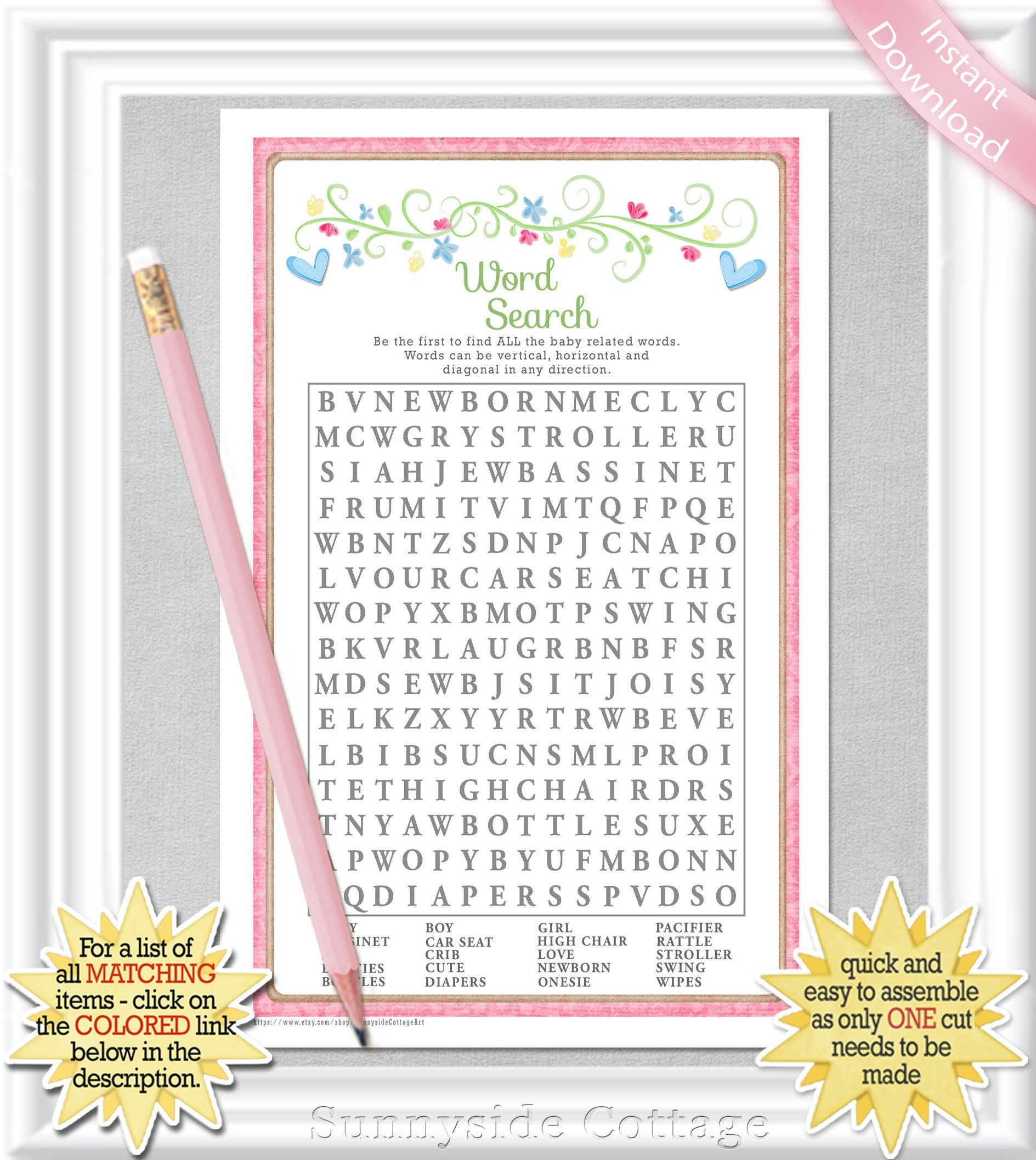 Word Search Baby Shower Game In A Vintage Style With Soft Etsy