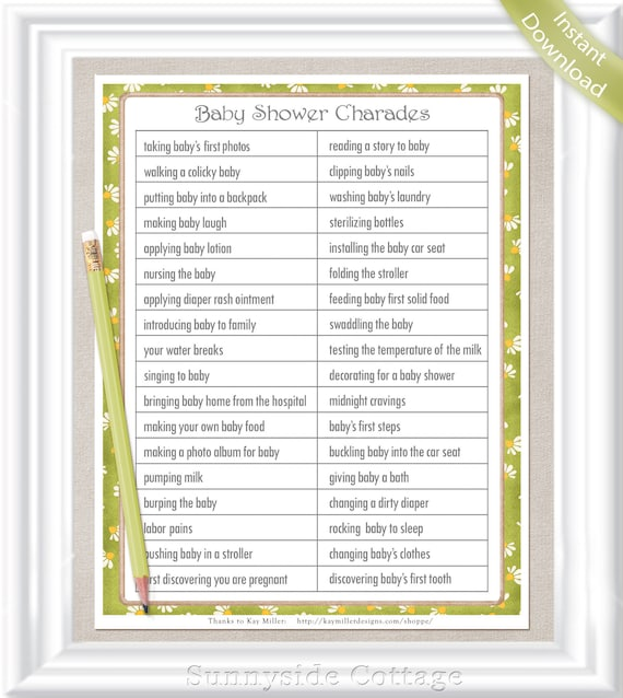 CHARADES Baby Shower Game Gender Neutral Colors In A Vintage