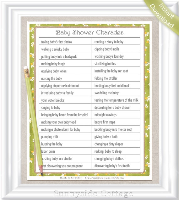 Charades Baby Shower Game Gender Neutral Colors In A Vintage Etsy