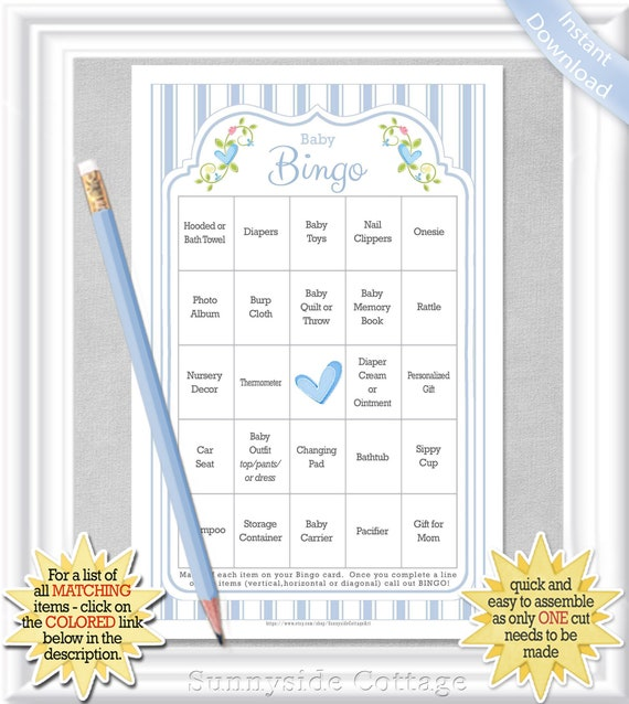 66 card Baby BINGO pre-populated cards with vintage pink and white ticking stripes No DUPLICATES diy PRINTABLE 29BA