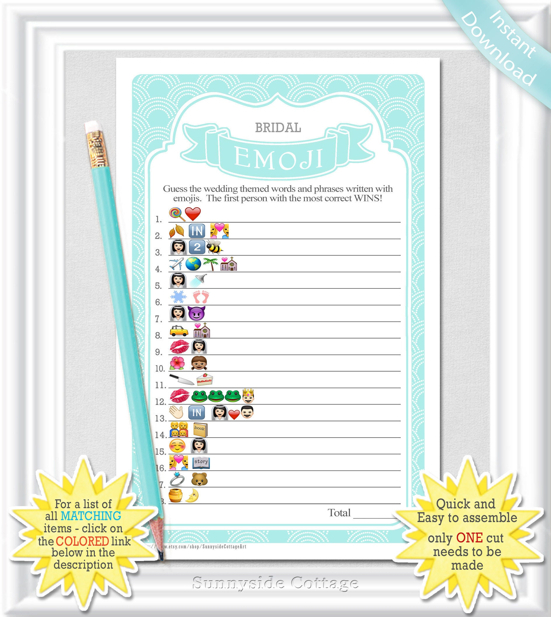 graphic relating to Wedding Emoji Pictionary Free Printable named EMOJI Pictionary Bridal Shower activity inside of aqua and white, bachelorette emoji sport, Remedies incorporated, do-it-yourself PRINTABLE, engagement bash activity, 22BR