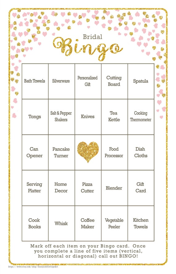 642777998ae 36 Card Bridal Bingo Vintage Shabby Chic Design Diy ...