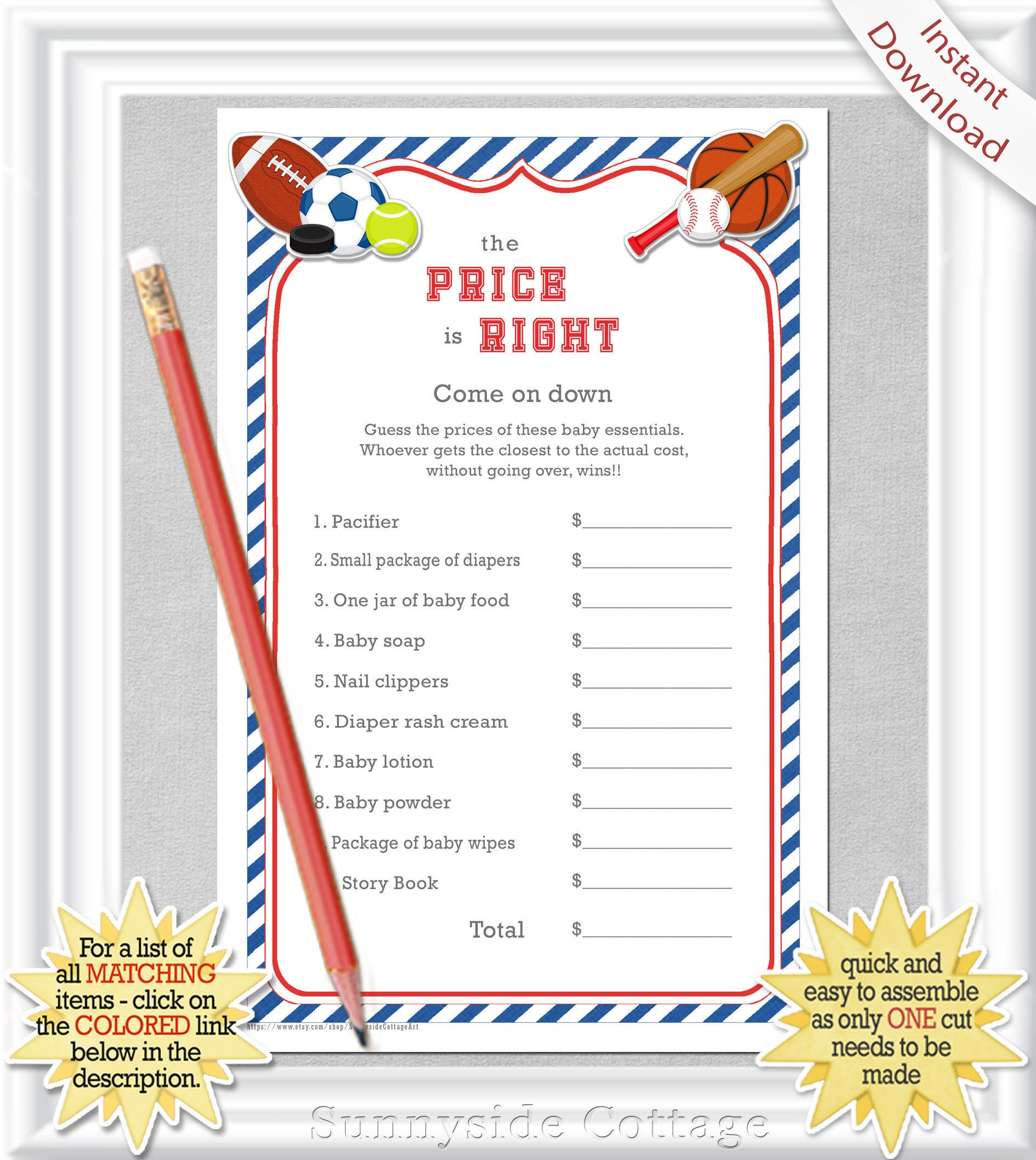 The Price Is Right Baby Shower Game With A Sweet Sports Theme Etsy