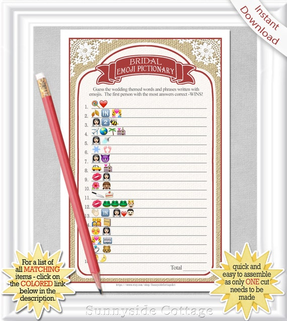 EMOJI Pictionary Bridal game country/rustic style with red | Etsy