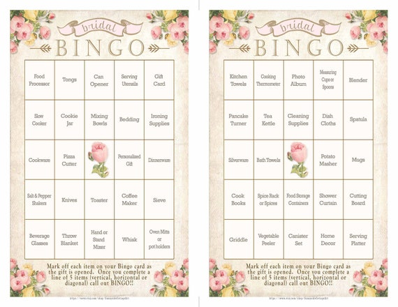 016c89f31b7 ... BRIDAL BINGO game in a soft blush with sparkling digital gold glitter