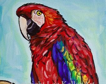 Macaw art print, Macaw  decor. Macaw  canvas print, Parrot art print, colorful bird art, tropical bird art. Scarlet Macaw Print