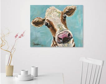 Canvas Cow Art Print. Cow prints, cow art, Canvas Cow decor from original cow on canvas painting. Cow canvas art with blue background