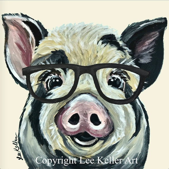 Pig Art Print Pig Decor From Original Canvas Pig Painting Etsy