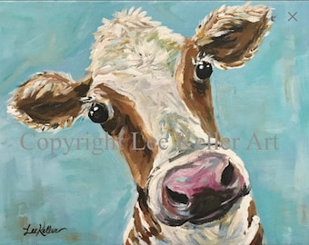 Cow art print from original canvas cow painting. Cow art with turquoise background. Cute whimsical cow print