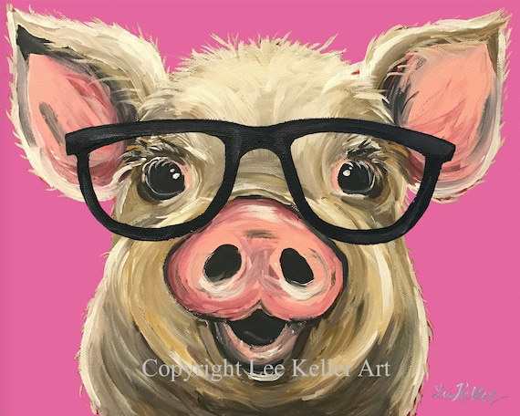 Canvas Pig Art Print Pig Art Pig Decor Pig With Glasses Etsy