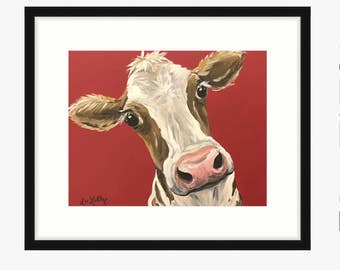 Cow art print cow prints, cow art prints, cow with red background, cute cow art