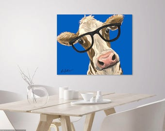 Whimsical Cow Canvas , Cow Art Print, Funny cow art, cow with glasses.  Colorful Cow decor from original cow on canvas painting