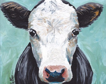 Cow art print, cow decor from original canvas cow painting. Cow art prints canvas and fine art paper options.