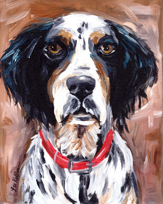 BRITTANY SPANIEL WORKING VINTAGE STYLE DOG ART PRINT MATTED READY TO FRAME