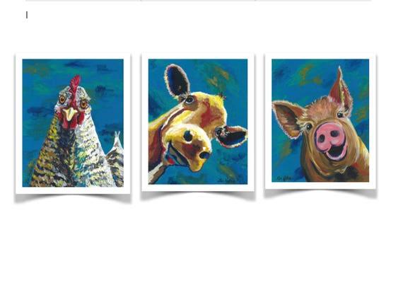 Farm Animal Prints Cow Print Pig Print Chicken Print Dining Room Art Kitchen Art Even Nursery Art Colorful Farm Animal Prints