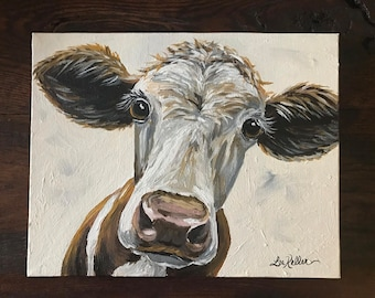 Canvas Cow Art Print. Cow print, cow art, Canvas Cow print from original cow on canvas painting