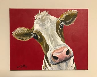 Cow art, cow prints, Canvas Cow Art Print. Canvas Cow decor from original cow canvas painting. Cow art, cow art prints, cow prints